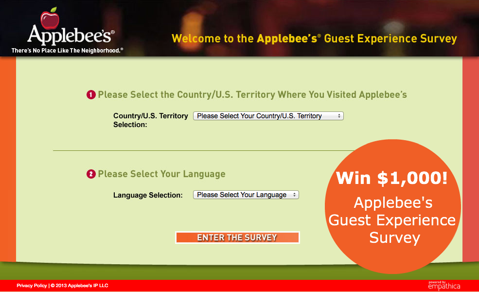 Applebees survey $1000
