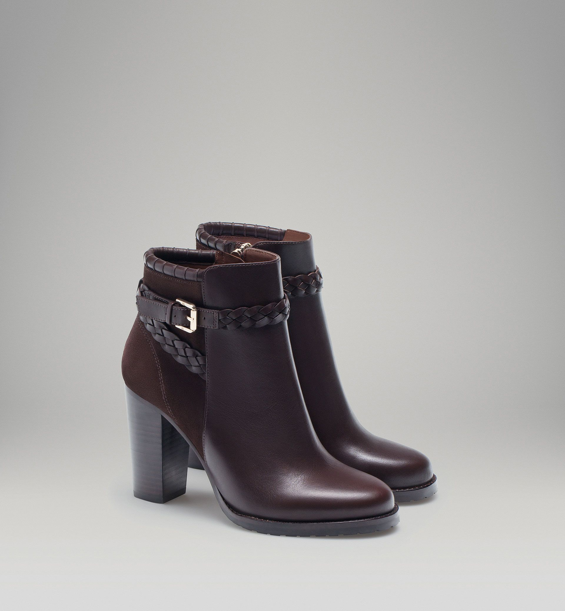 89cb5b32947b8 HIGH-HEEL ANKLE BOOT WITH PLAITED STRAPS |Massimo Dutti | Yes ...