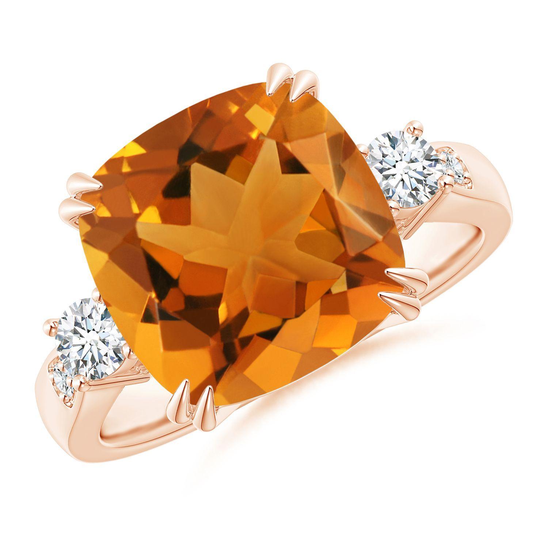 Angara Cushion Citrine and Diamond Ring in Yellow Gold DtT6X