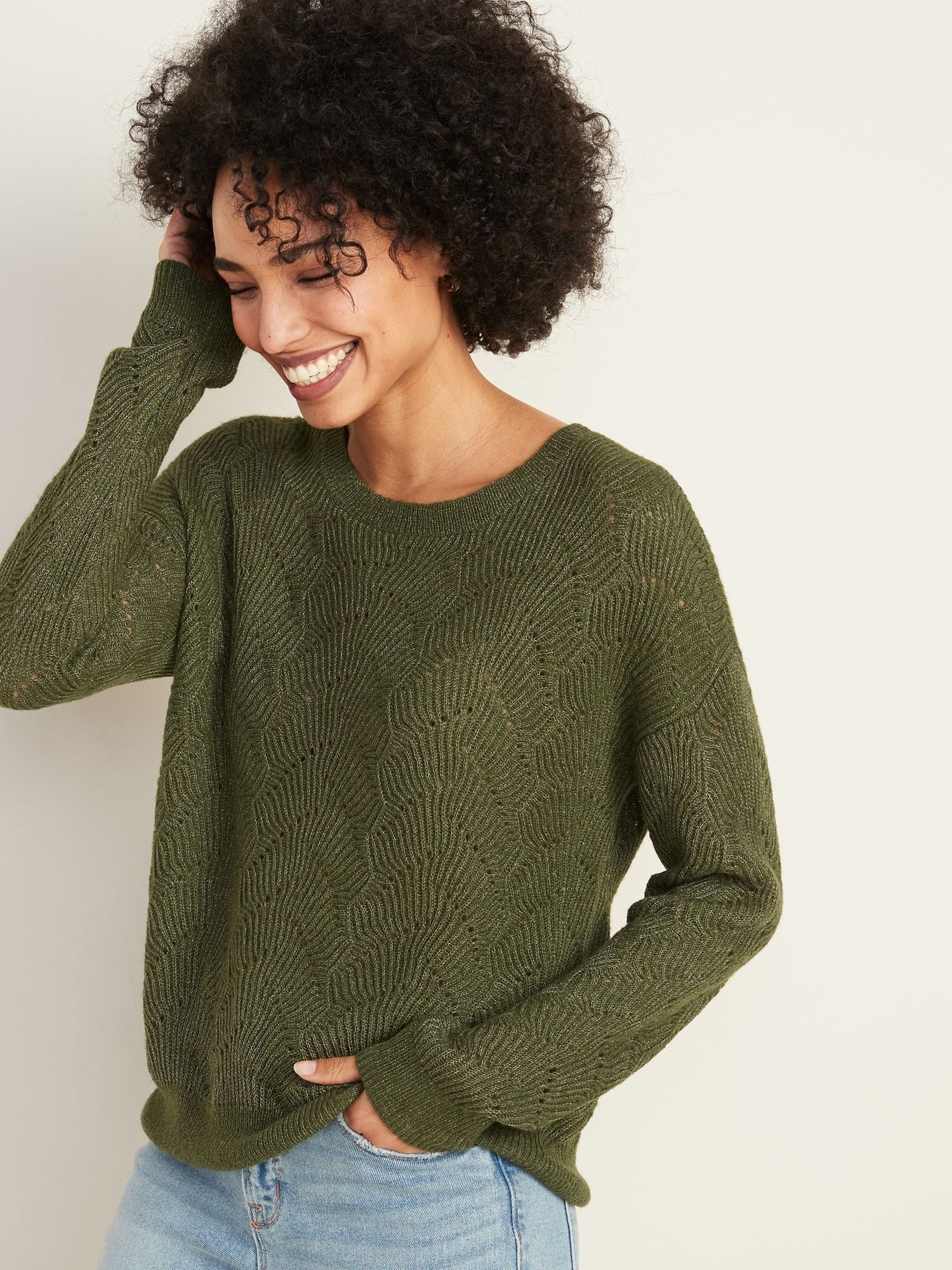 Crew-Neck Pointelle Sweater For Women