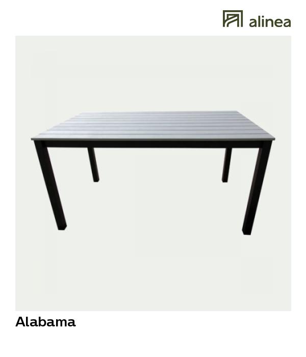 Alabama Table de jardin grise en Polywood (4 à 6 places)