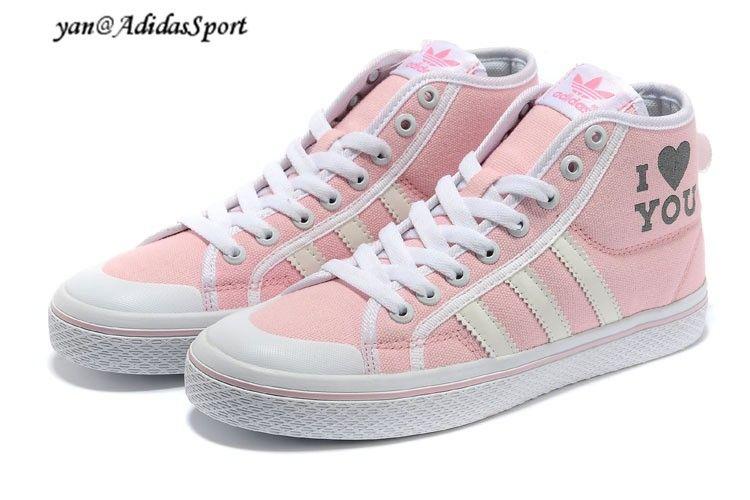 Adidas Originals Honey Mid W Valentines Edition Women\u0027s Canvas Shoes Pink  White Beige HOT SALE!