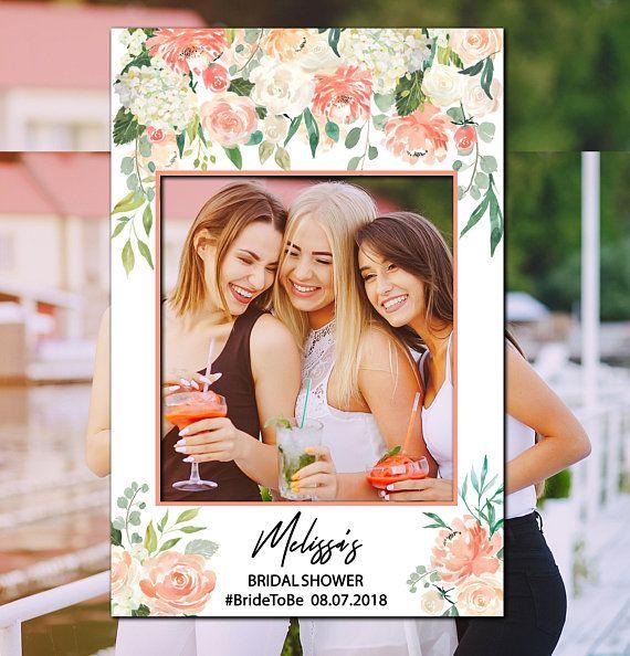 Roses And Gold Bridal Shower Selfie Frame Social Media Photo Booth