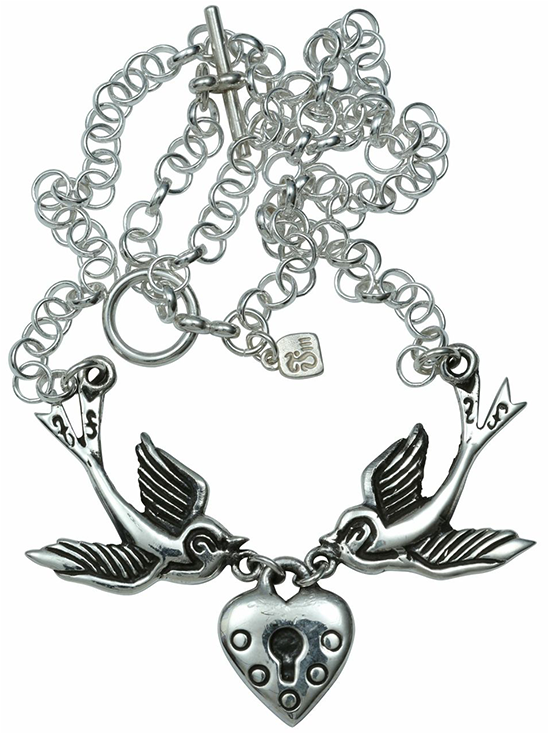 """Love Locket"" Necklace by Femme Metale #InkedShop #necklace #heart #sparrows…"