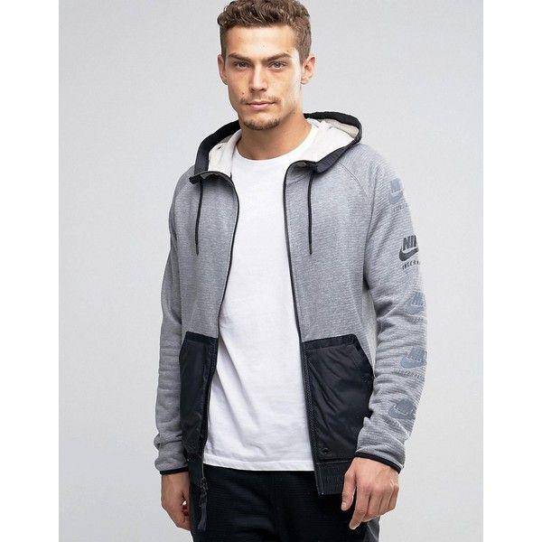 aa2308174d Nike International Windbreaker Jacket In Grey 802480-091 ( 105) ❤ liked on  Polyvore