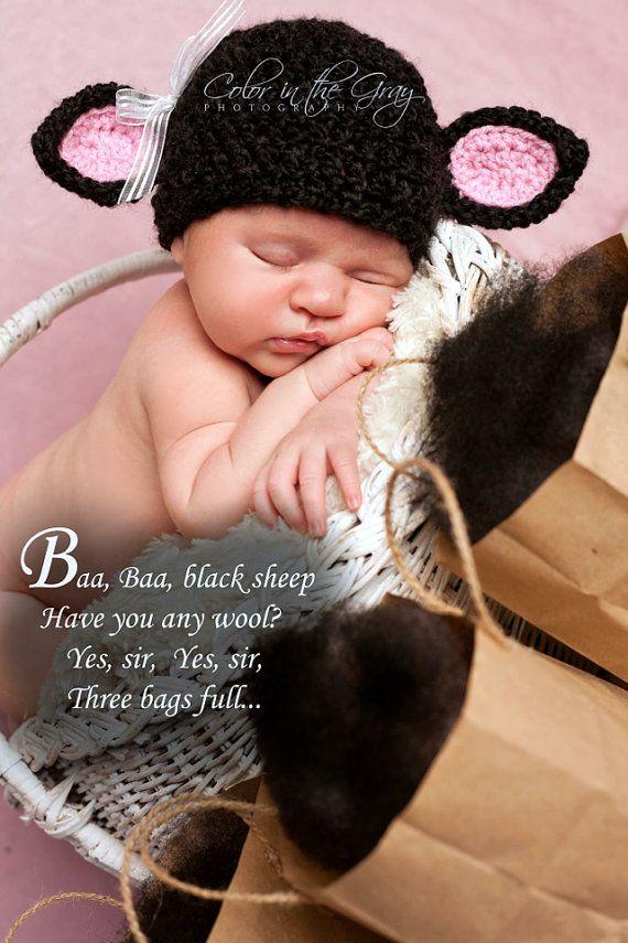 Items similar to Crochet Newborn Black Sheep - Black Lamb Hat - Photo Prop  on Etsy 584059fd72ca