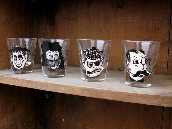 Vintage 1950s Printed Shot Glasses Fun Kitschy 3D