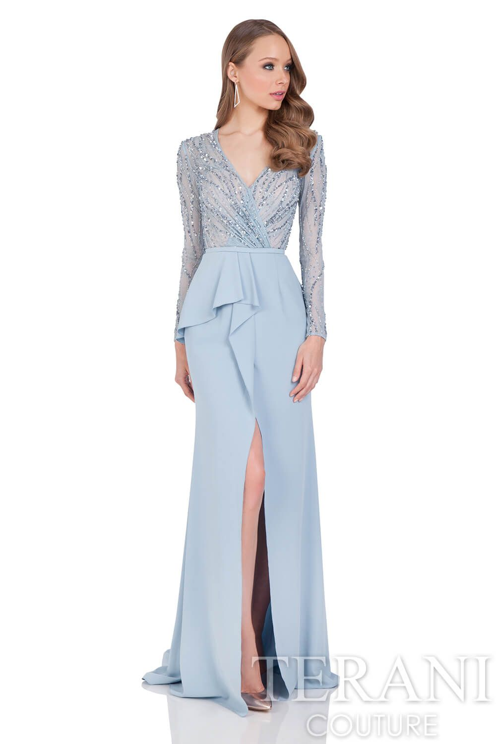 8995d6af9e54 Lace top mother of the bride gown with three quarter wrap around peplum  leading into the front center slit up the stretch crepe trumpet skirt.