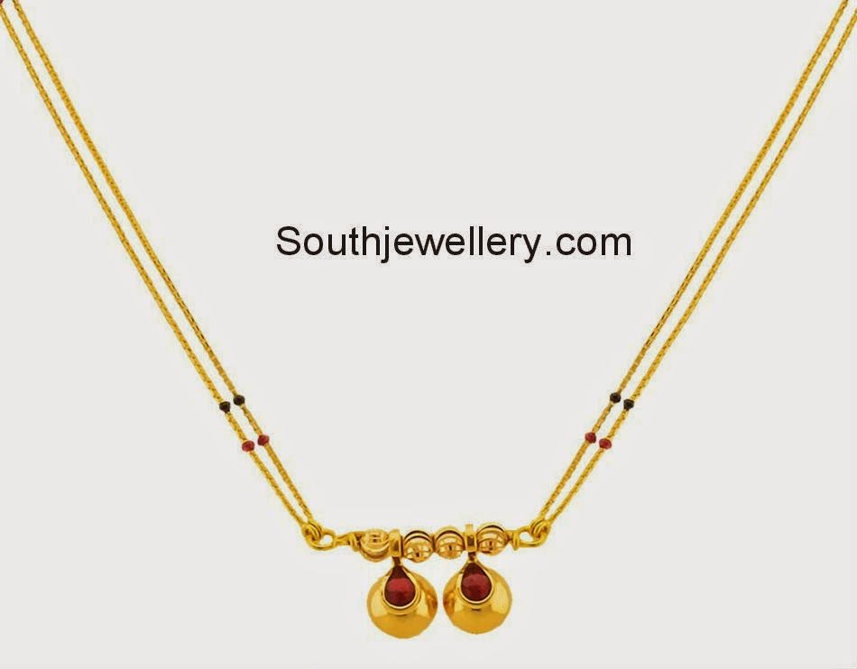 22 carat gold delicate light weight mangalsutra chain strung with ...