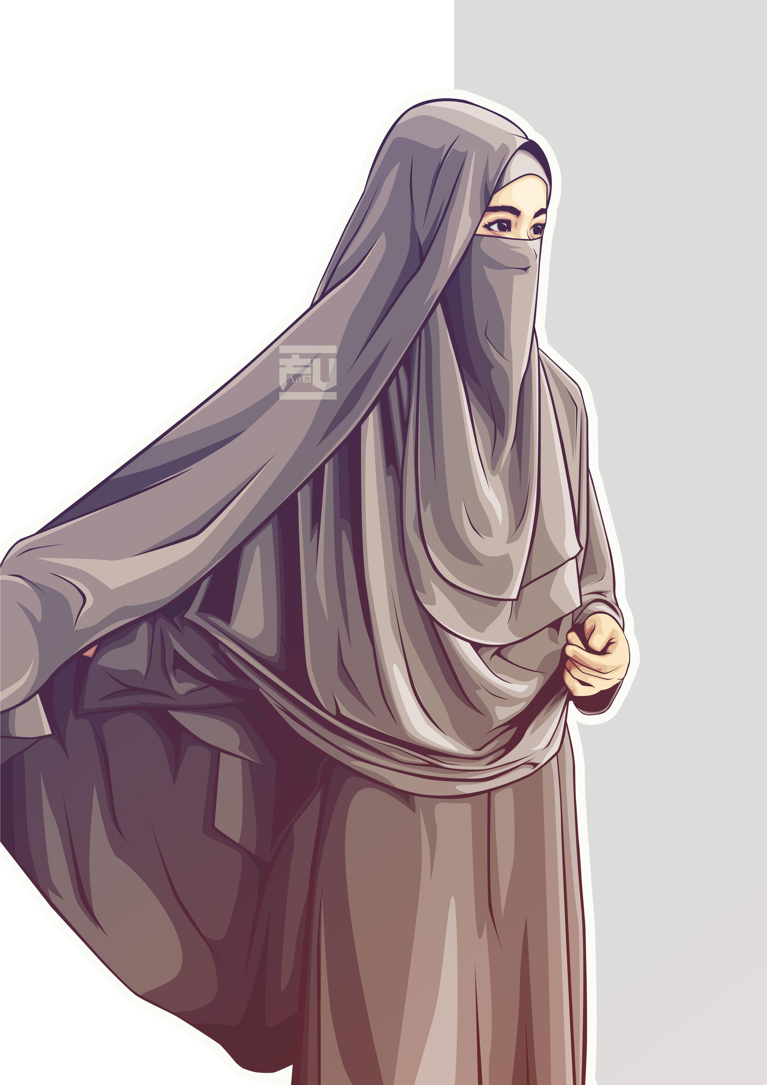 hijab vector niqab ahmadfu22 Kartun, Gambar, Wanita