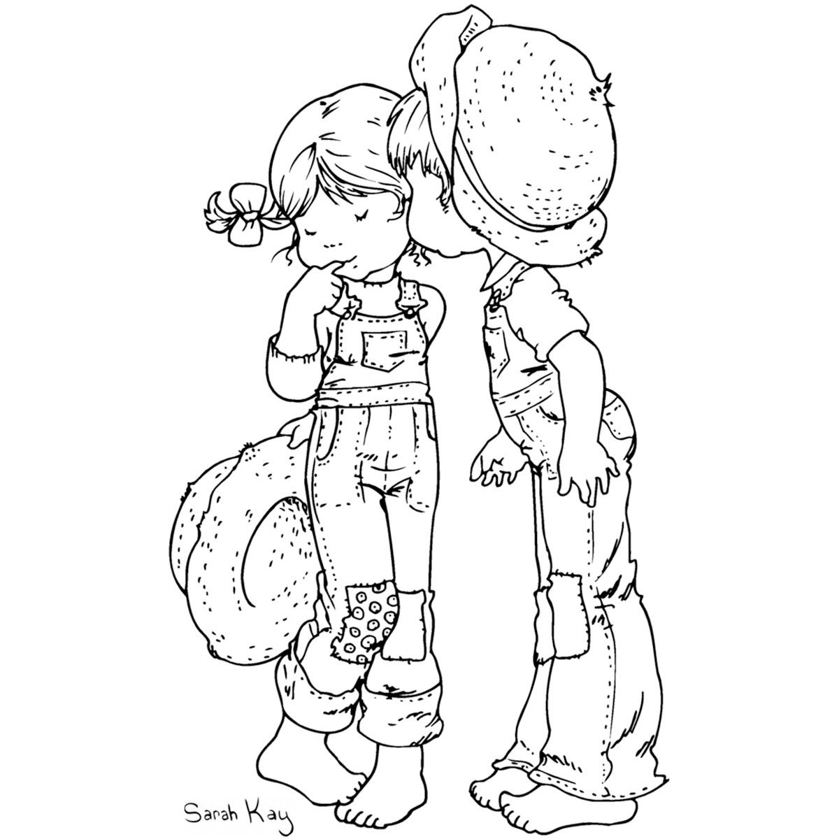 Coloring pages kiss - Stampavie Sarah Kay Clear Stamp A Kiss For Chloe 3 1 2 Coloring Sheetscoloring