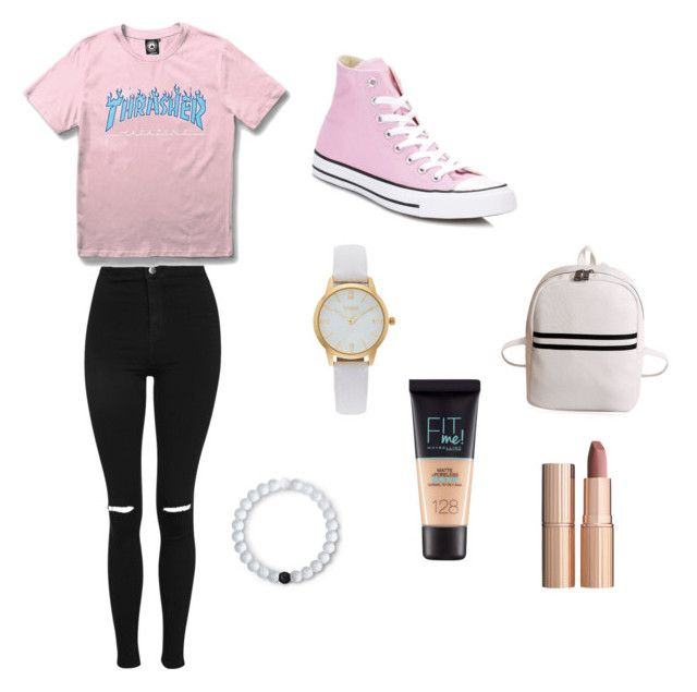 """School"" by v-perry ❤ liked on Polyvore featuring Topshop, WithChic, Converse, Vivani, Maybelline, Charlotte Tilbury and Lokai"