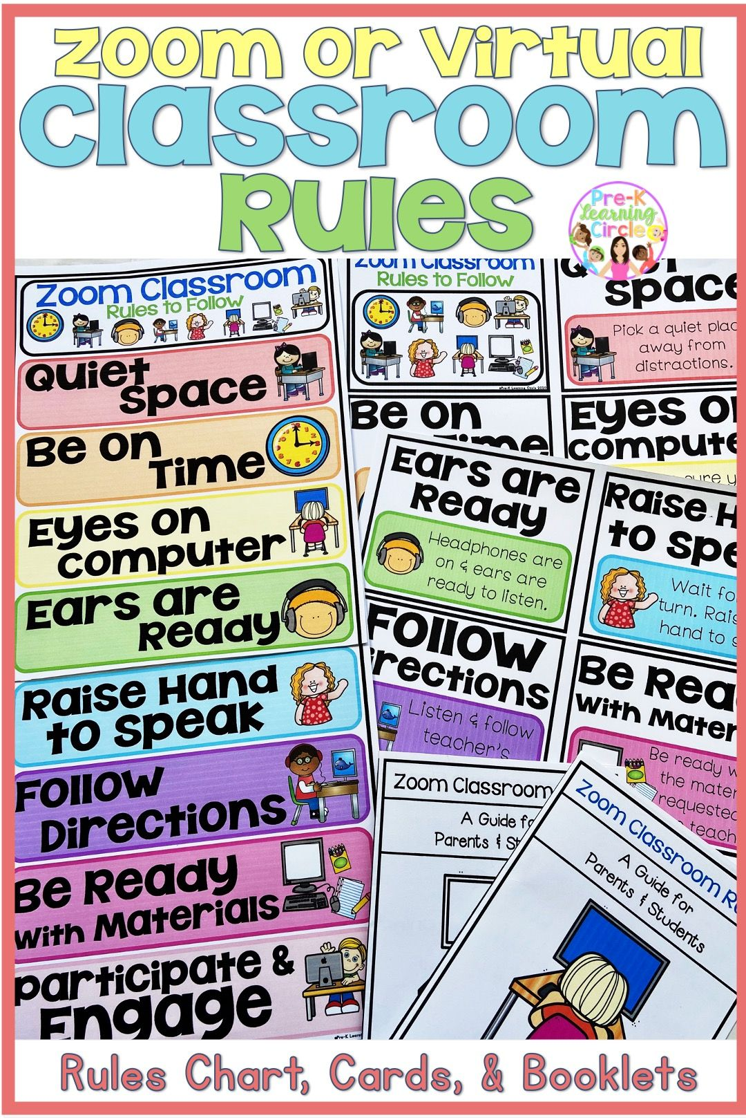 Zoom Virtual Classroom Rules Chart Cards Classroom Rules Virtual Classrooms Classroom