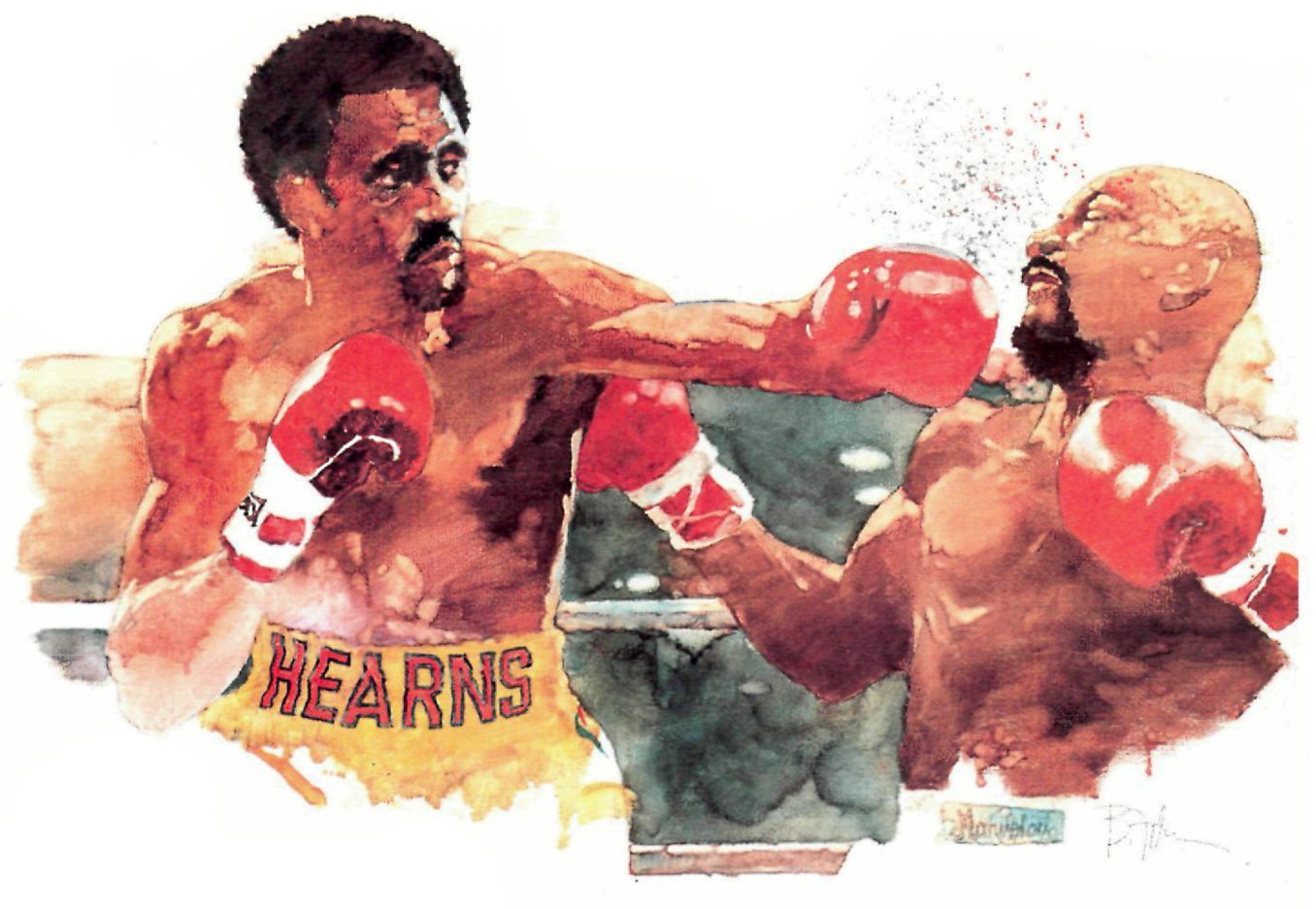 Marvin Hagler Vs Thomas Hearns Painting By Bart Forbes 1985 Boxing Posters Sports Art Boxing Images