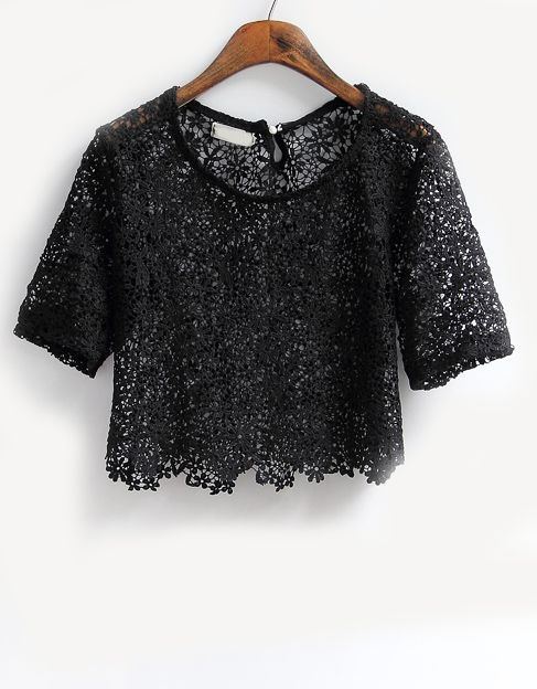 Black Short Sleeve Embroidery Crop Lace T-Shirt US$22.43