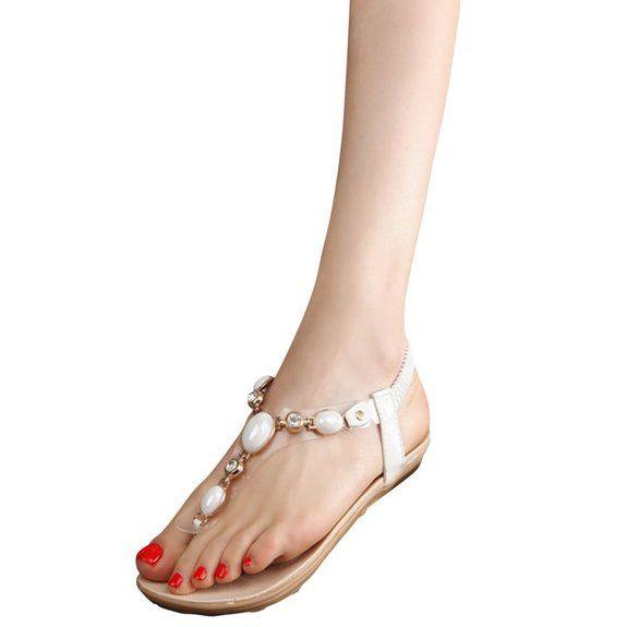 Hee Grand Donne Infradito Belle Sexy Basse Piatte con Strass Cinti Scarpe  alla Moda EU 34.5 CN 35 Bianco 2b9ab76f3e7
