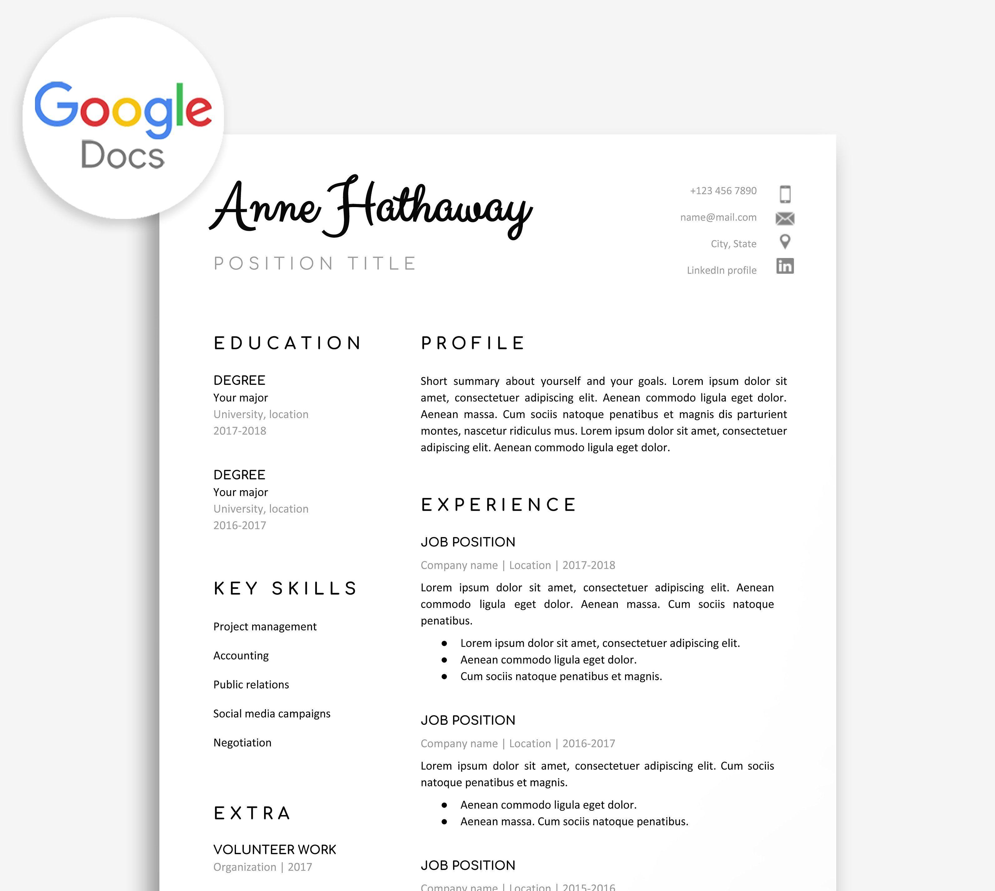 Google Doc Resume Template Resume Template Resume Words Skills Resume Design Template