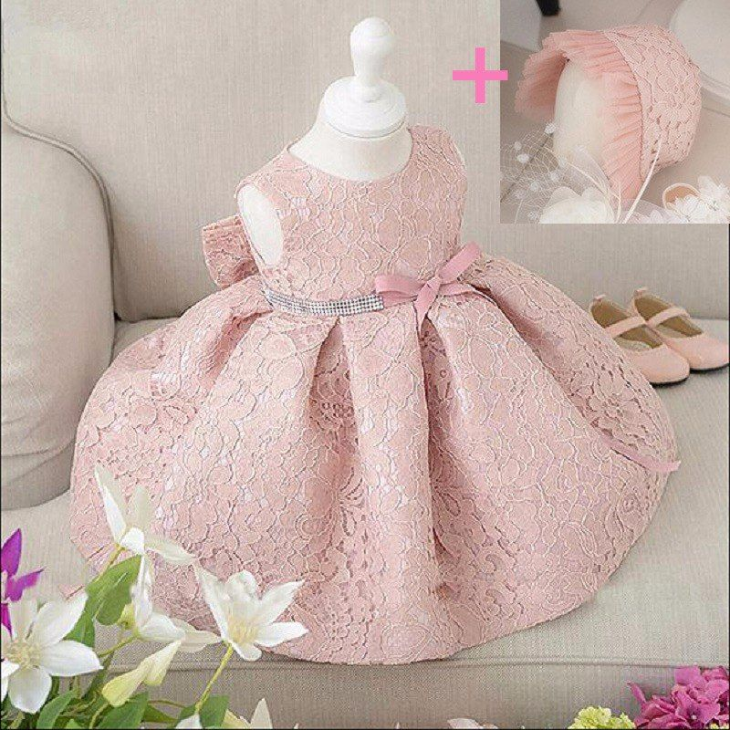 Baby Girl Princess Dress with Flower Petals for Christening//Baptism//Birthday//Par