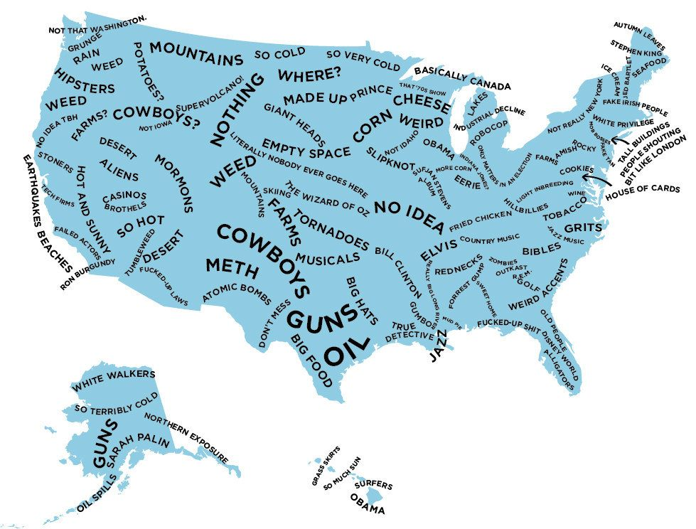 The Stereotype Map Of Every US State According To British - Accrate map of us