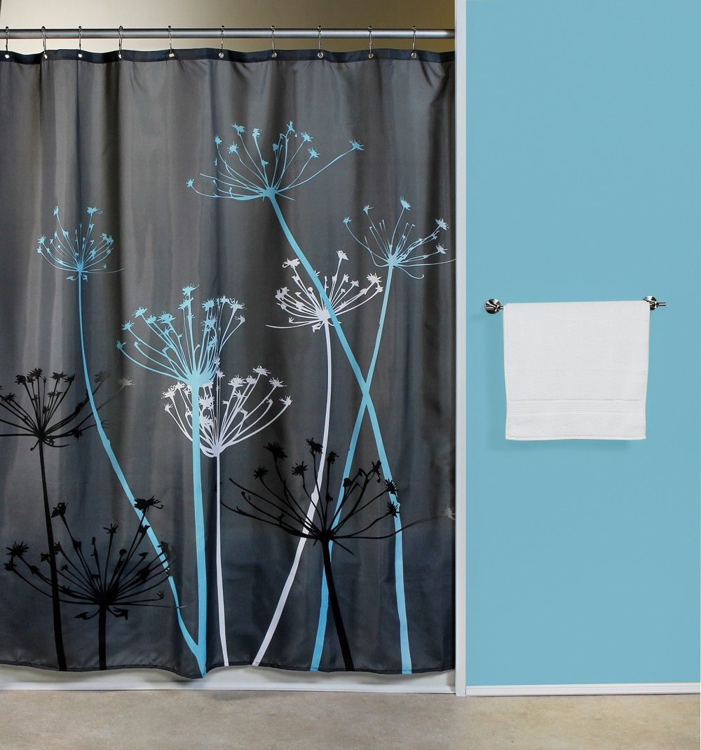 Shower Curtains For Blue Bathroom Thistle Gray Blue Fabric