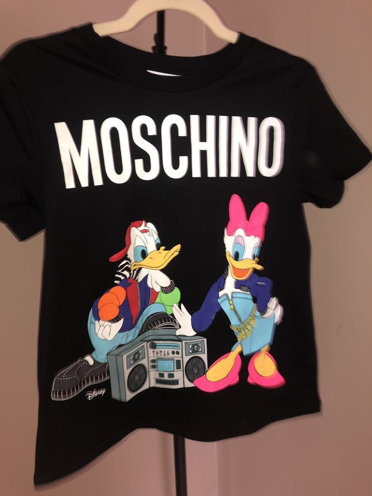 90b5e8924 Moschino x H&M Black T-shirt with Printed Design Donald Duck Disney Size XS  #fashion #clothing #shoes #accessories #unisexclothingshoesaccs ...