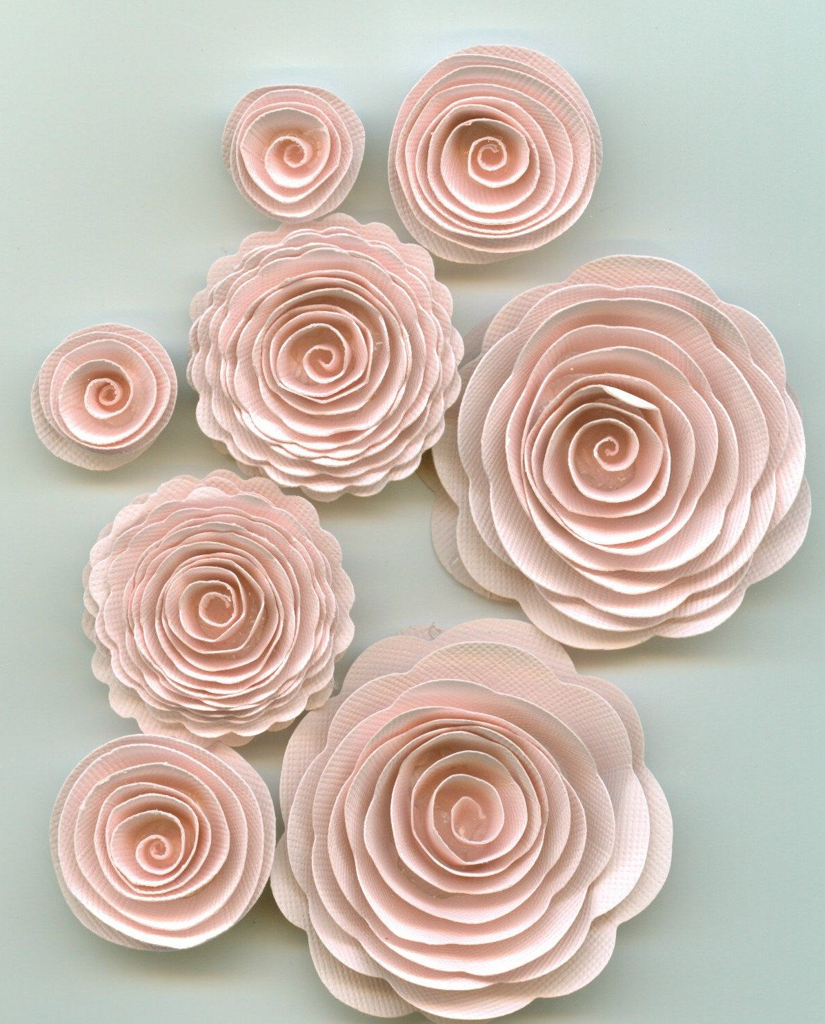 Muslin Nude Pink Spiral Paper Flowers (3.70 USD) by crazy2becrazy
