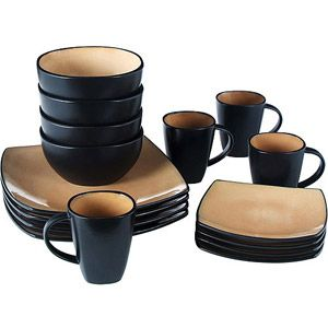 Gibson Home Soho Lounge Square Dinnerware Set Microwave and Dishwasher Safe Taupe  sc 1 st  Pinterest & Gibson Home Soho Lounge Square 16-Piece Dinnerware Set | Registry ...
