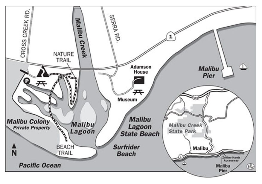 Malibu Lagoon State Beach Is Located At Cross Creek Rd And Pacific Coast Highway Malibu Creek Flows Into The Pacific Ocean Malibu Pier Surfrider Beach Malibu