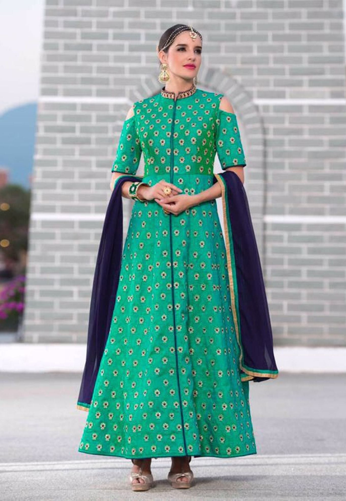 Buy Apparels- Sea Green Colour Pure Silk Party Wear Suits | Party ...