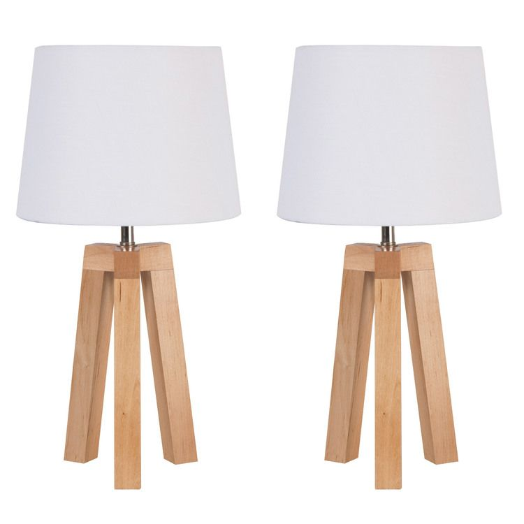 Lot De 2 Lampes De Chevet Trepied En Bois Et Coton Hauteur 40cm Stockholm Lampe De Chevet Bois Lampe Bois Lampe De Chevet Scandinave