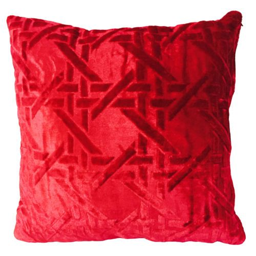New Red Brown Golden Weaving Pattern Velvet Decorative Pillow Case Adorable Red And Gold Decorative Pillows