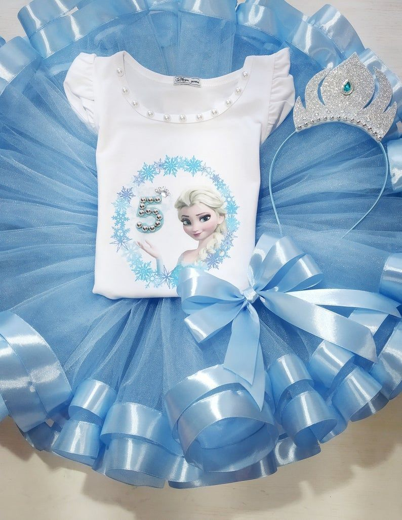 Blue tutu outfit for toddler tutu dress Birthday Princess tulle set Birthday party outfit
