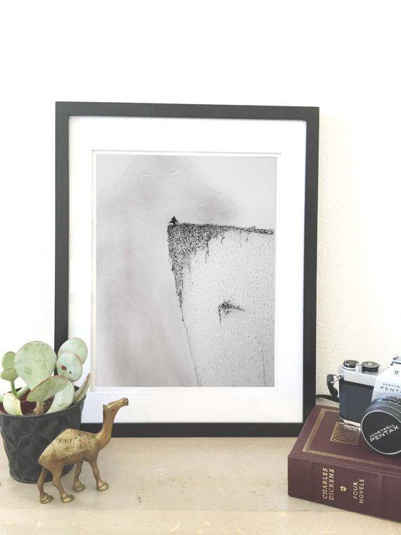 Mist Mountain. Pencil drawing. Original art print. Home decor. Black and white wall art. Nature wall art.