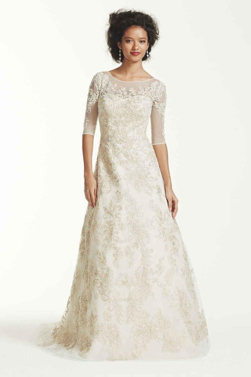 Oleg cassini sleeve lace wedding dress style cwg my dream