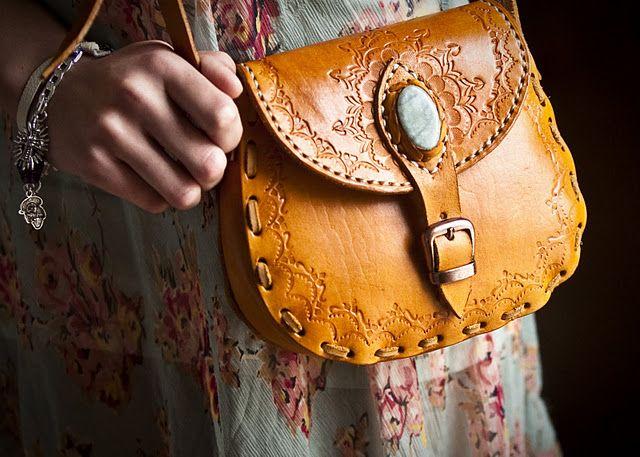 Stela 9 bolsita bag in orange   guatemala, jade, tooling, handmade, fairtrade, eco-friendly, leather crossbody