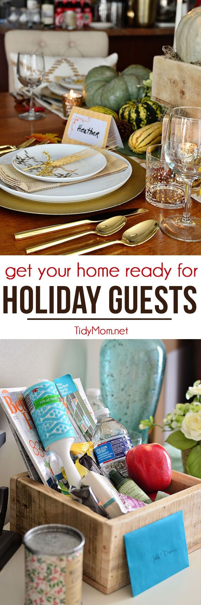 The holidays often involve party and overnight guests. Follow these holiday tips to get your home ready for guests. Such as, providing overnight guests with a small basket of things they might. Quick cleaning tip with Scotch-Brite cleaning tools and more at TidyMom.net