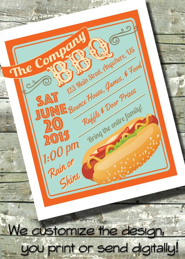 summer bbq hotdog picnic church or community event 5x7 invite flyer 11x14. Black Bedroom Furniture Sets. Home Design Ideas