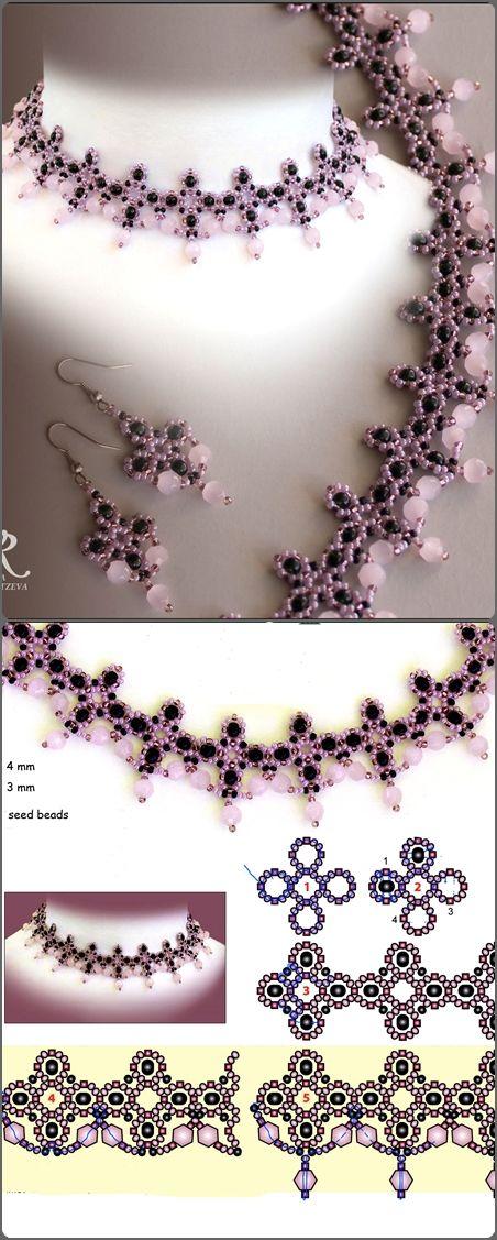 collar rosa y negro, con su esquema | Collares | Pinterest | Perlen ...