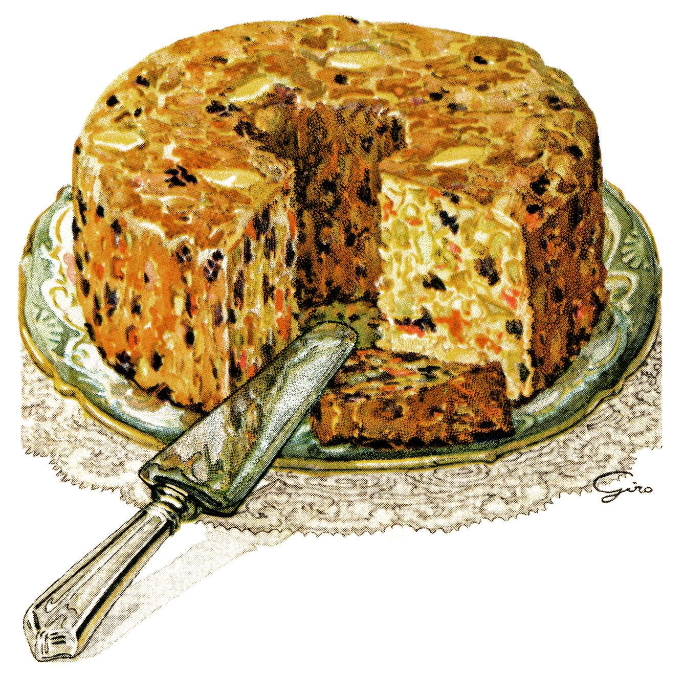 White Fruit Cake Illustration Free Vintage Graphics vintage