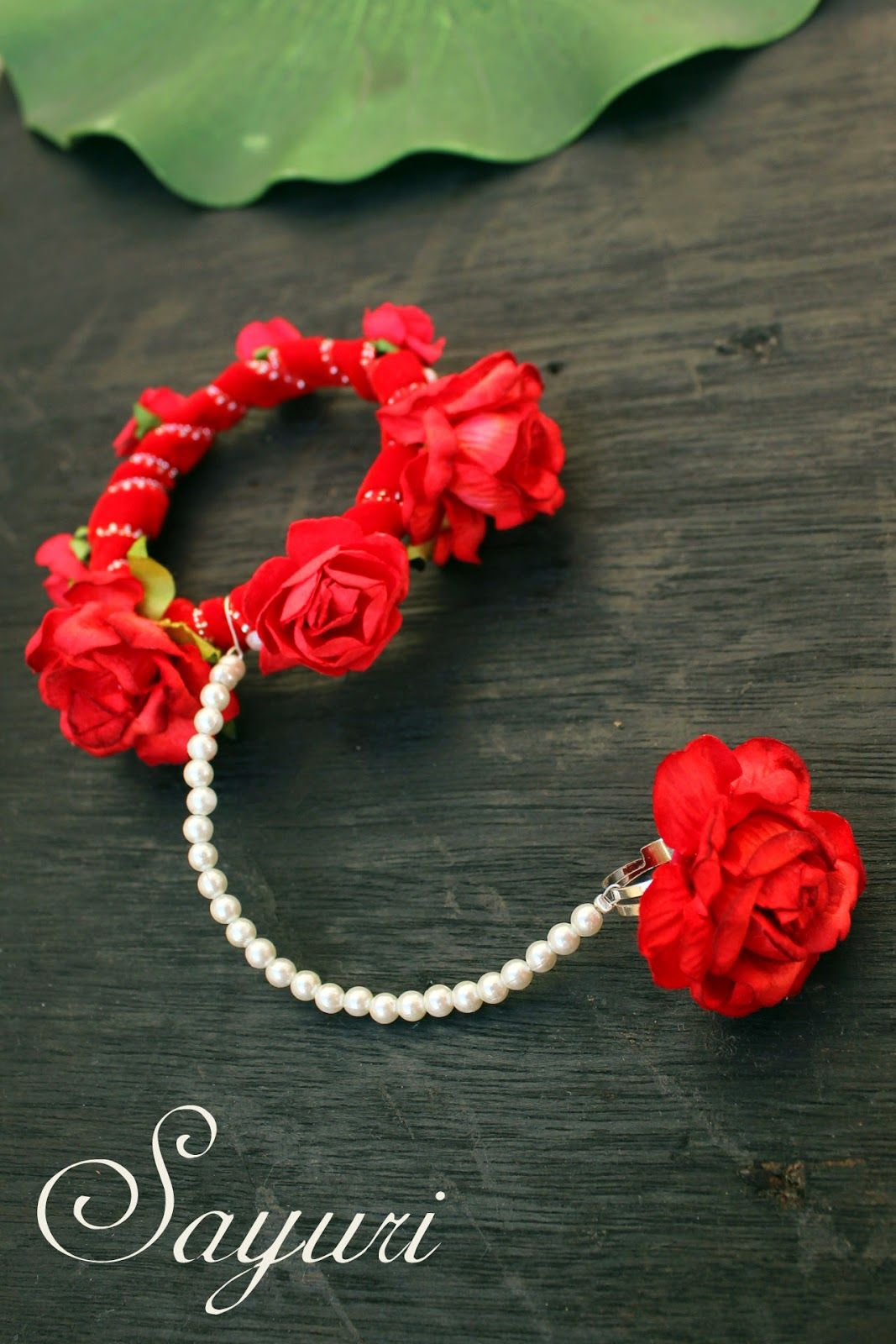 Paper rose Bridal jewellery Flower jewellery for haldi