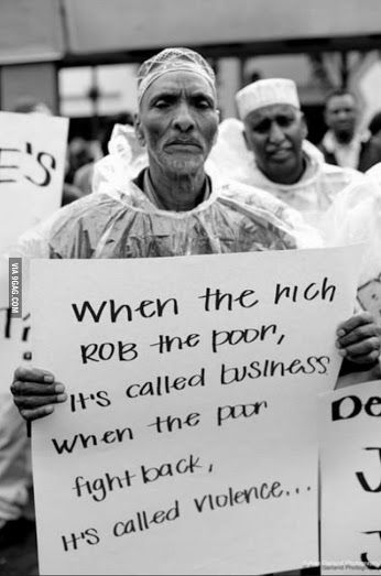 """Rich * Poor * Hunger:::The U.S. American doesn't give a once about the poor. American is the wealthiest nation. A small of group of super rich pilot and corporation control the wealth. yet, 14.5 percent of the U.S. household--nearly 49 million American live on food stamp, including 15.9 million children struggle to put food on the table and live on poverty. (Mathew 25:45)  Jesus called """" the least of these; he said, feed the poor....Famine * Hunger.....The man with the poster sign--The rich…"""