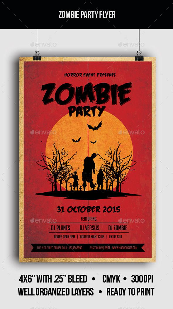 tropical summer beach pool flyer poster template free club party – Zombie Flyer Template