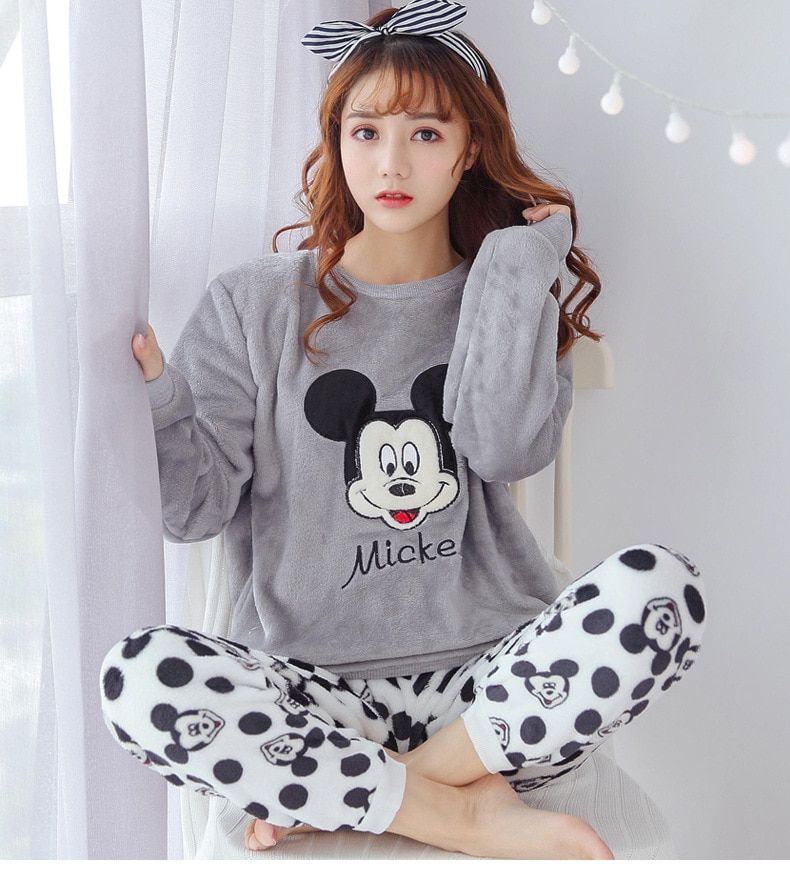 b70af7b81bcd Flannel Winter Home Wear Long Sleeve Cartoon Sleepwear Pajamas Set for  Women s  fashion  clothing  shoes  accessories  womensclothing   intimatessleep (ebay ...