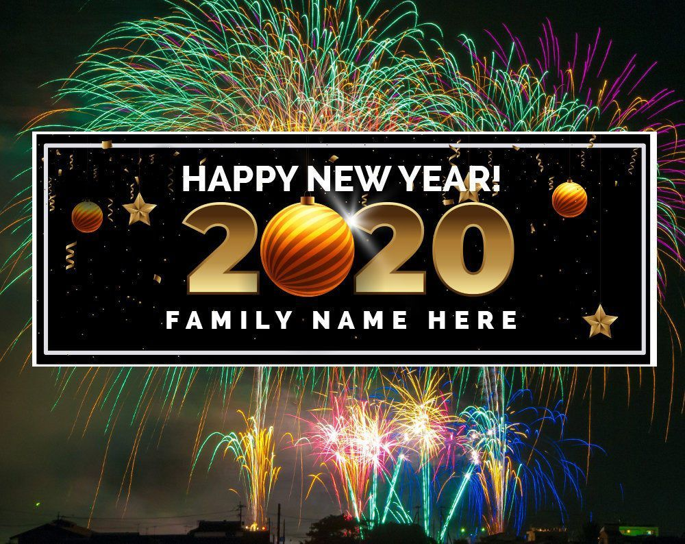 New Year's Party Banner, Confetti Personalized Custom 2020