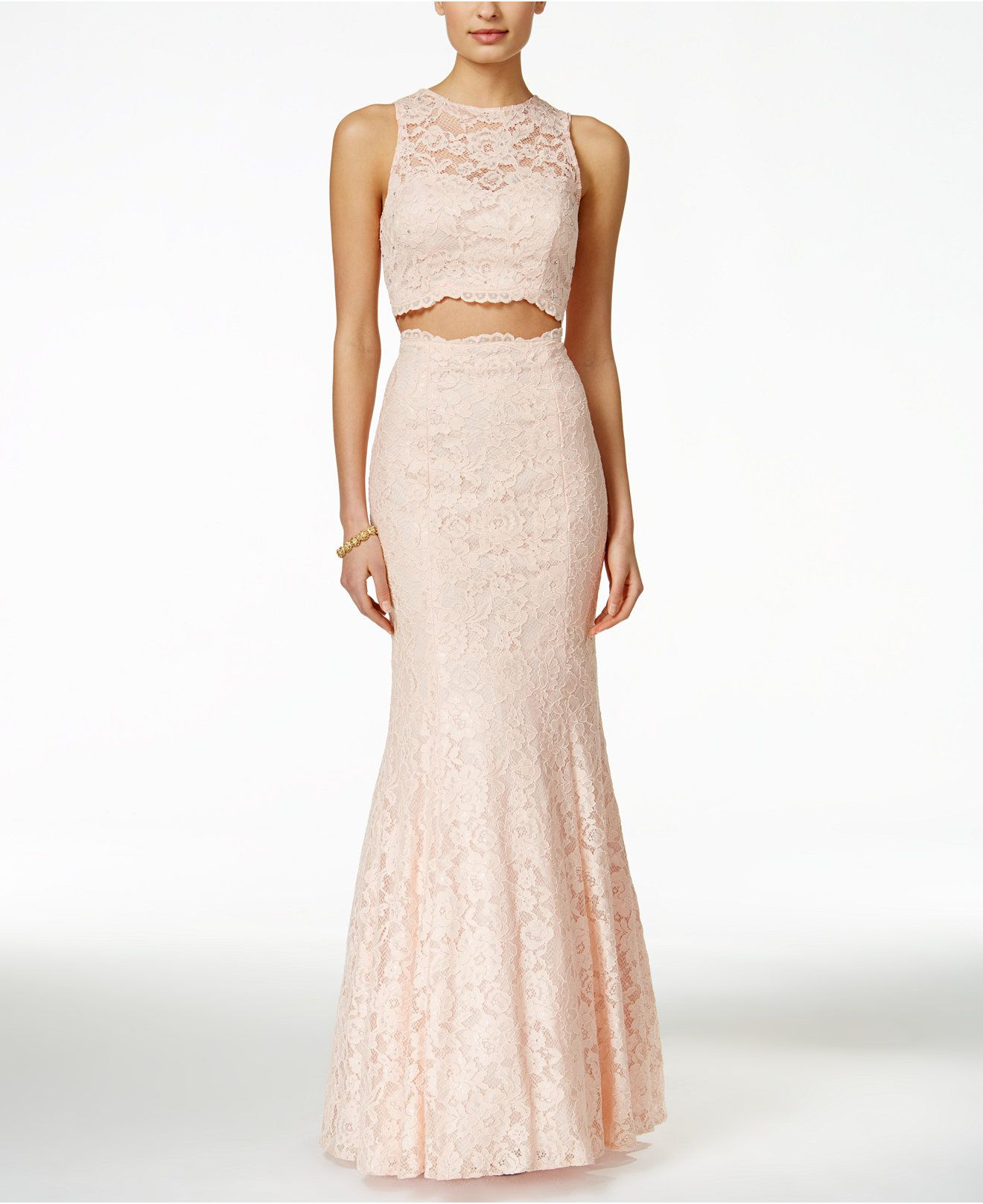 Xscape Embellished Lace Two-Piece Mermaid Gown - Dresses ...