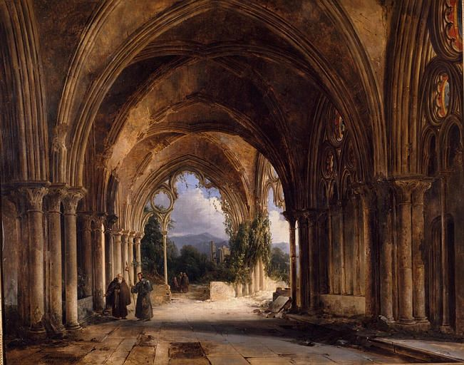 Charles Caius Renoux 1795 1846 Monks In A Gothic Church In