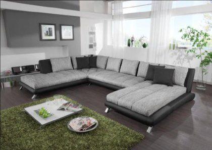 Wohnprofi Wohnlandschaft mit Ottomane und Recamiere (schwarz/grau - wohnzimmer modern grau