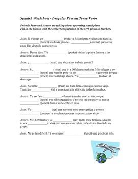 This worksheet features a dialogue between two friends