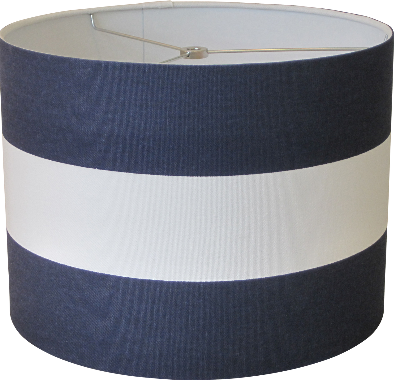 lampshapes.com - Navy Blue and White Striped Lamp Shade - Drum ...