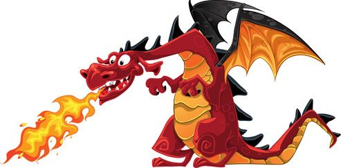 Fire dragon. Green breathing clipart free